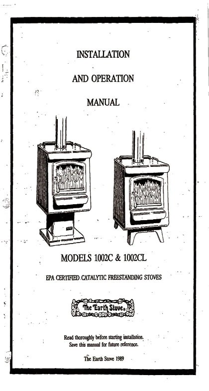 Earth Stove 1002c 1002cl User Manual Wood Es1002c 1002cl