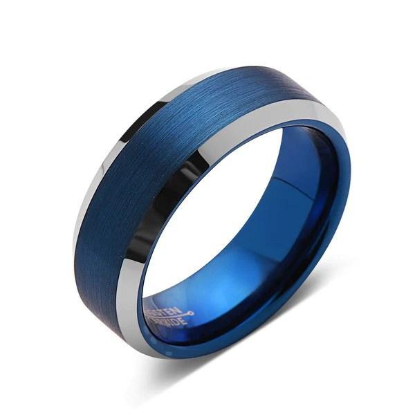 Blue Tungsten Wedding Band Silver Brushed Tungsten Ring
