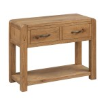 Capri Oak Large Console Table With Drawers Roseland Roseland Furniture