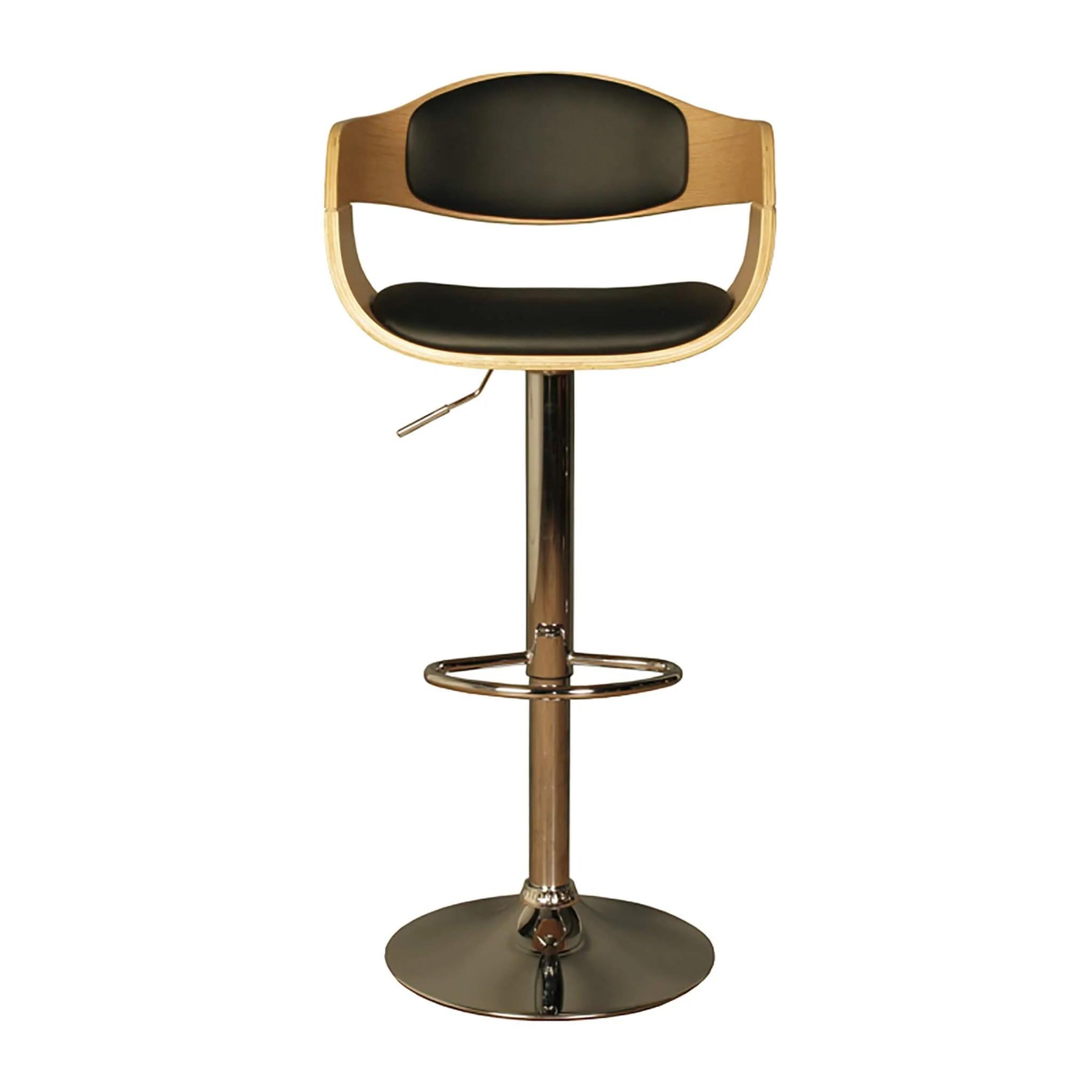 Anna Oak Kitchen Bar Stools Chrome Pu Leather Roseland Furniture