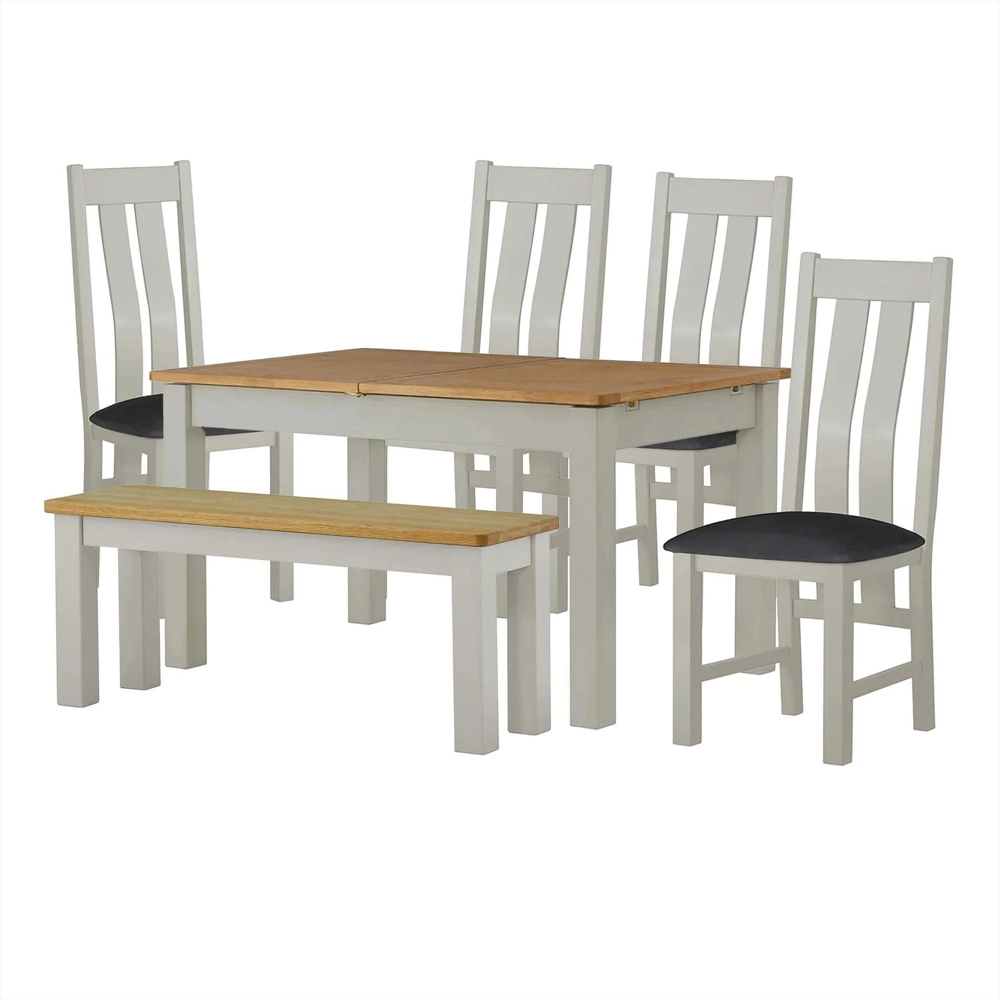 Padstow Grey Small Dining Set 1x Bench 4x Chairs 120cm Oak Top Roseland Furniture