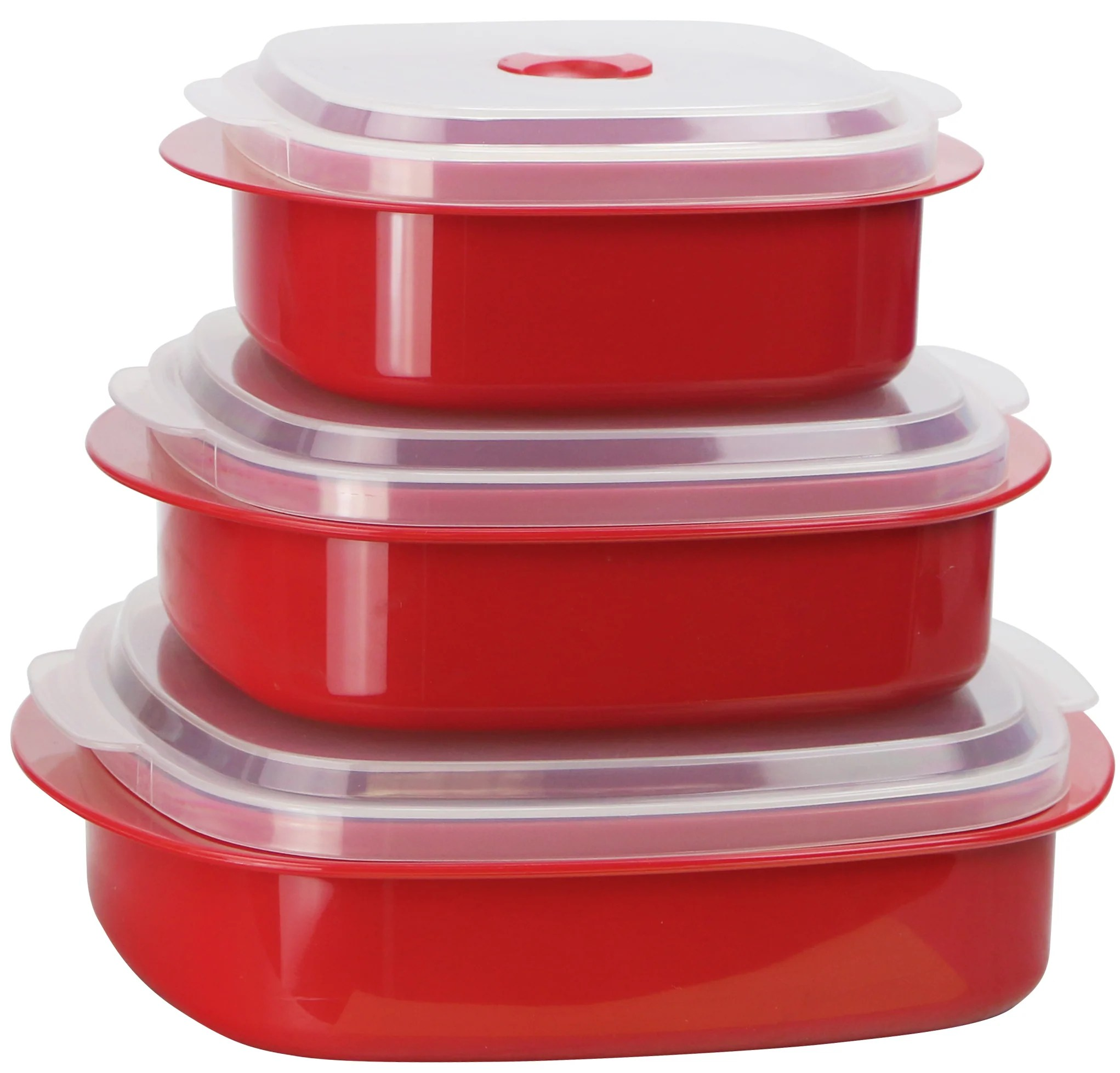 microwave cookware storage set red