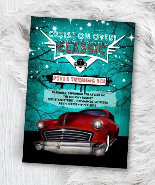Roxx Designs Classic Car Birthday Invitation Hot Rod Birthday Invitation Mens Rockabilly Low Roxx Designs