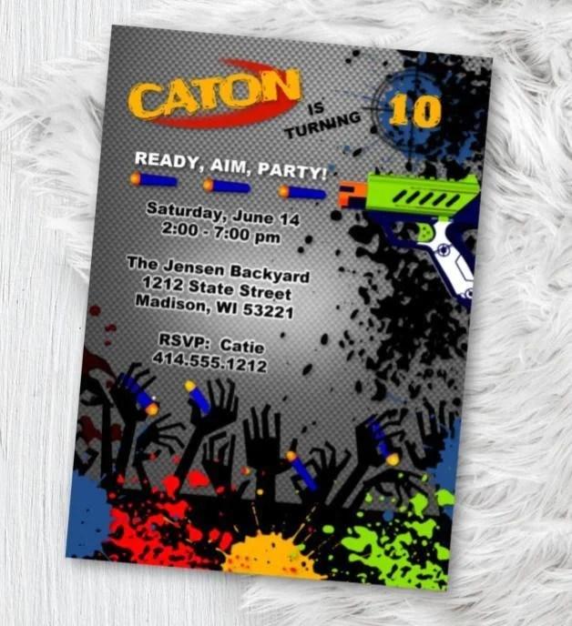 nerf gun birthday party invitation dart battle birthday theme invite printed or printable nerf battle invite boy flyer