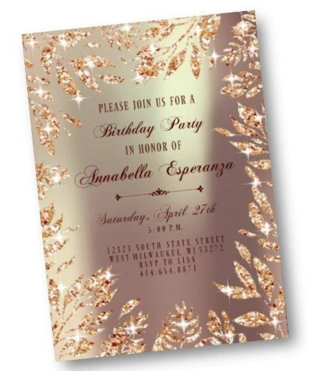 silver birthday invitation silver leaf sparkly sweet 16 or any age party invite glitter digital printable or printed