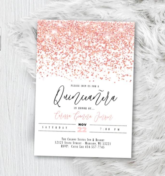 rose gold quinceanera invitation sweet 16 birthday invite sweet 15 pink white sparkle confetti glitter printed invitations