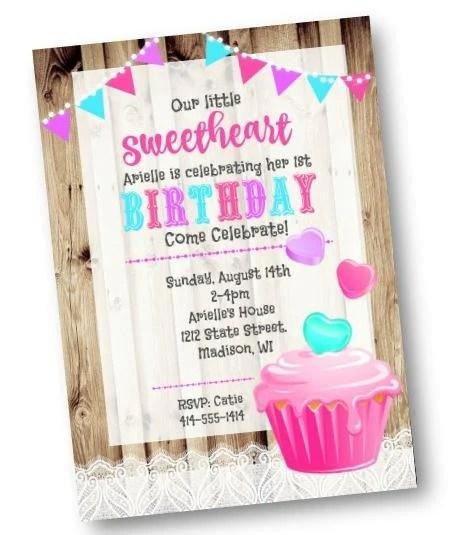 valentine s day birthday invitation rustic cupcake birthday party invitation flyer