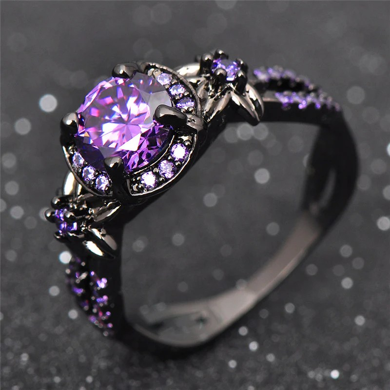 Black Gold Filled Purple Amethyst Ring ESS6 Fashion