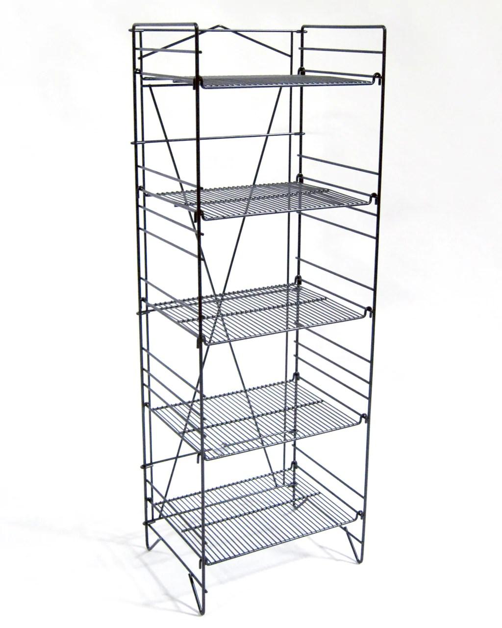 black foldout 5 shelf wire display rack 2 count
