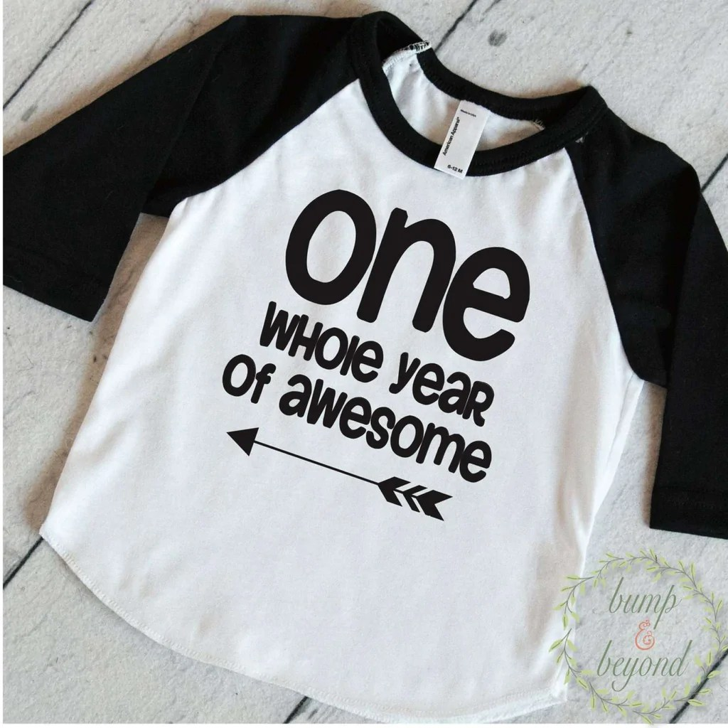 First Birthday Boy Shirt One Whole Year Of Awesome 3 4 Sleeve Raglan Bump And Beyond Designs