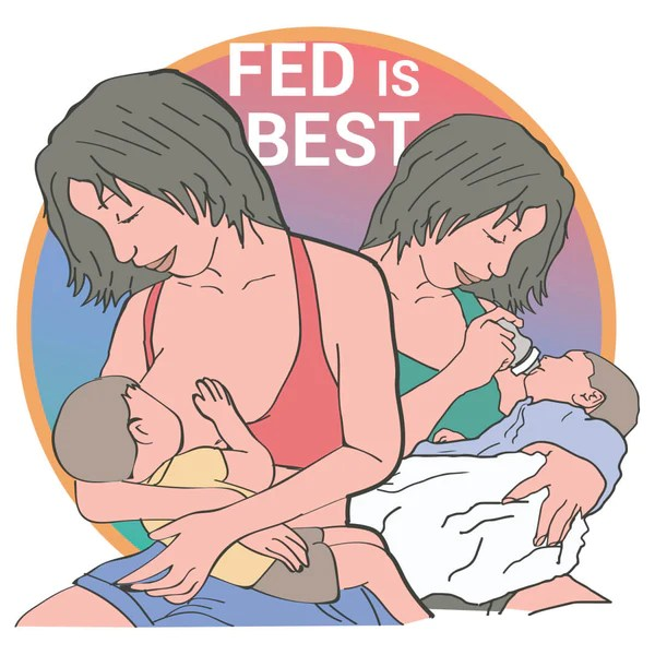 Two mums feeding their babies — one is direct-latch breastfeeding and the other is bottle-feeding