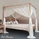 Hand Carved Teak Seaside Four Poster Bed In Whitewash Bali Abundance