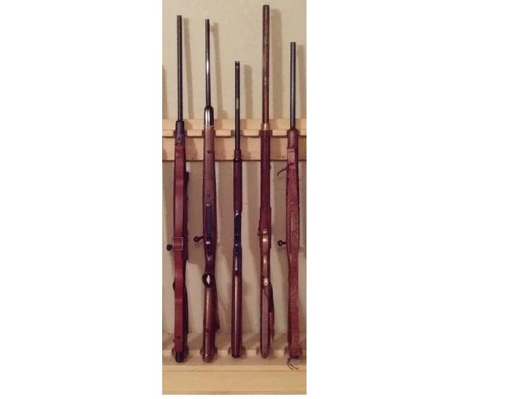 rustic pine wooden vertical gun rack 6 place long gun display