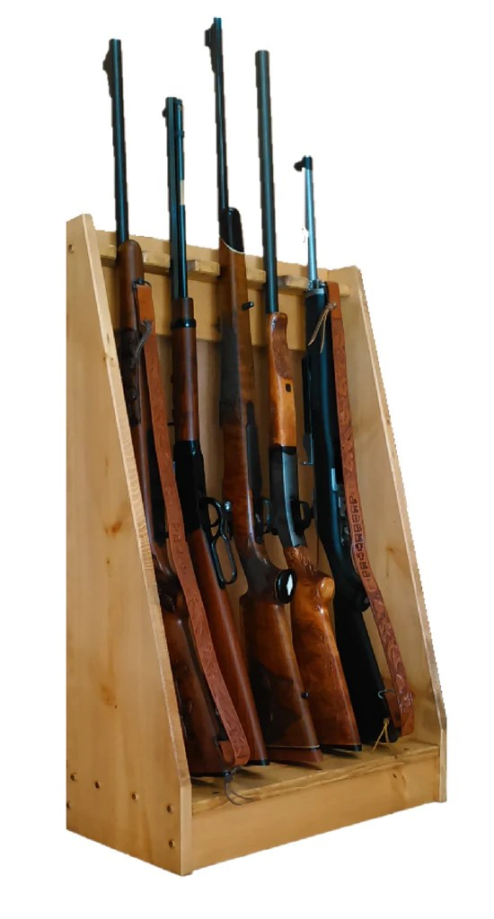 light rustic pine wooden vertical gun rack 6 place long gun display