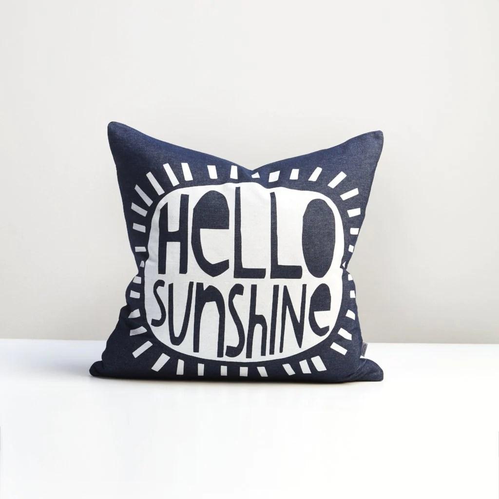 blue denim hello sunshine cushion
