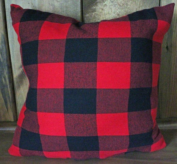 buffalo black and red check flannel pillow country loving market