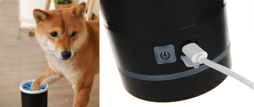 Shiba Inu using Smartpaw dog paw washer