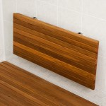 Wall Mounted Folding Teak Shower Bench Stylish Bathroom Safety Boomly