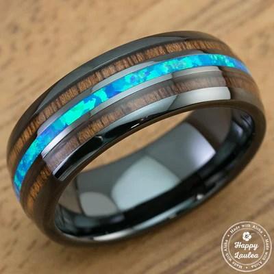 Happy Laulea Handmade Wedding Rings Koa Wood Wedding Rings