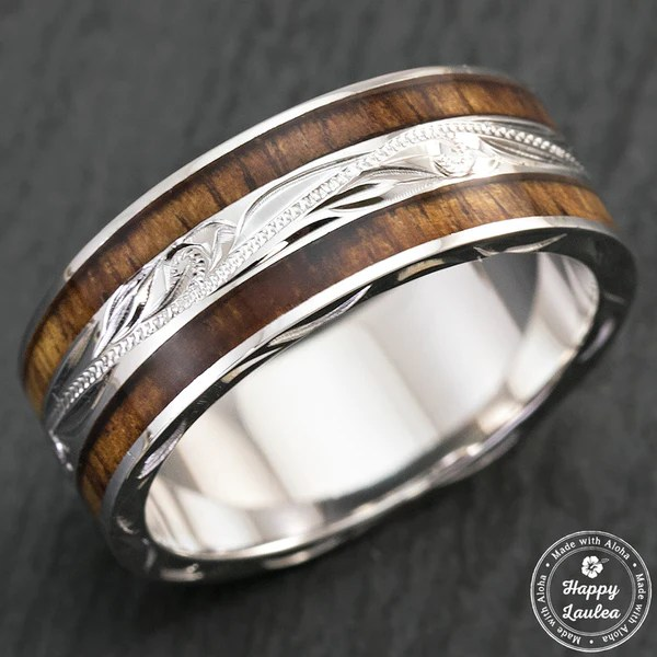 Sterling Silver Hand Engraved Hawaiian Jewellery Ring With