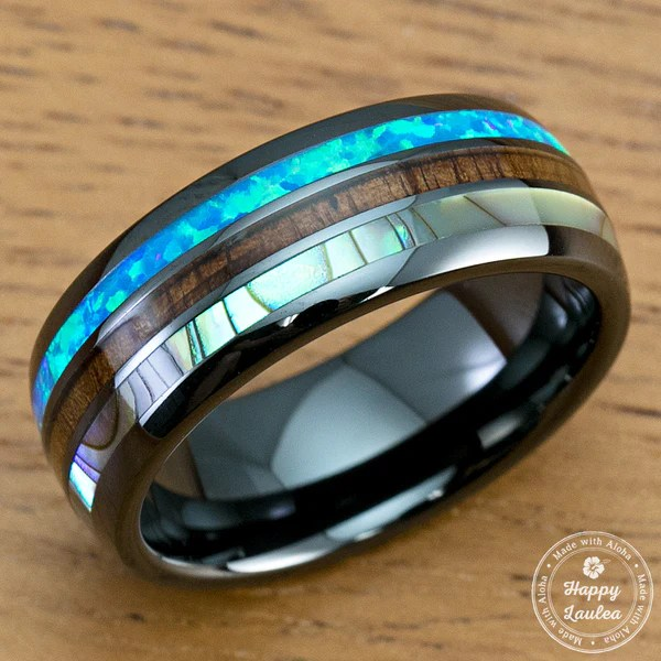 HI TECH Black Ceramic Ring With Abalone Shell Koa Wood