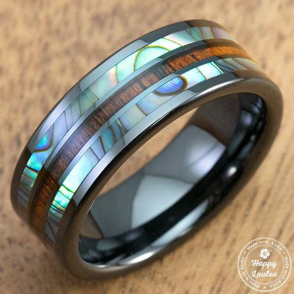 Hi Tech Black Ceramic Ring With Abalone Paua Shell Amp Koa