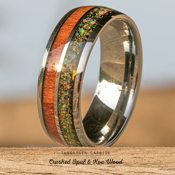 Tungsten Carbide Ring With Crushed Opal Amp Hawaiian Koa
