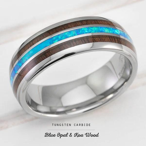 Tungsten Carbide Ring With Blue Opal Amp Hawaiian Koa Wood Inlay
