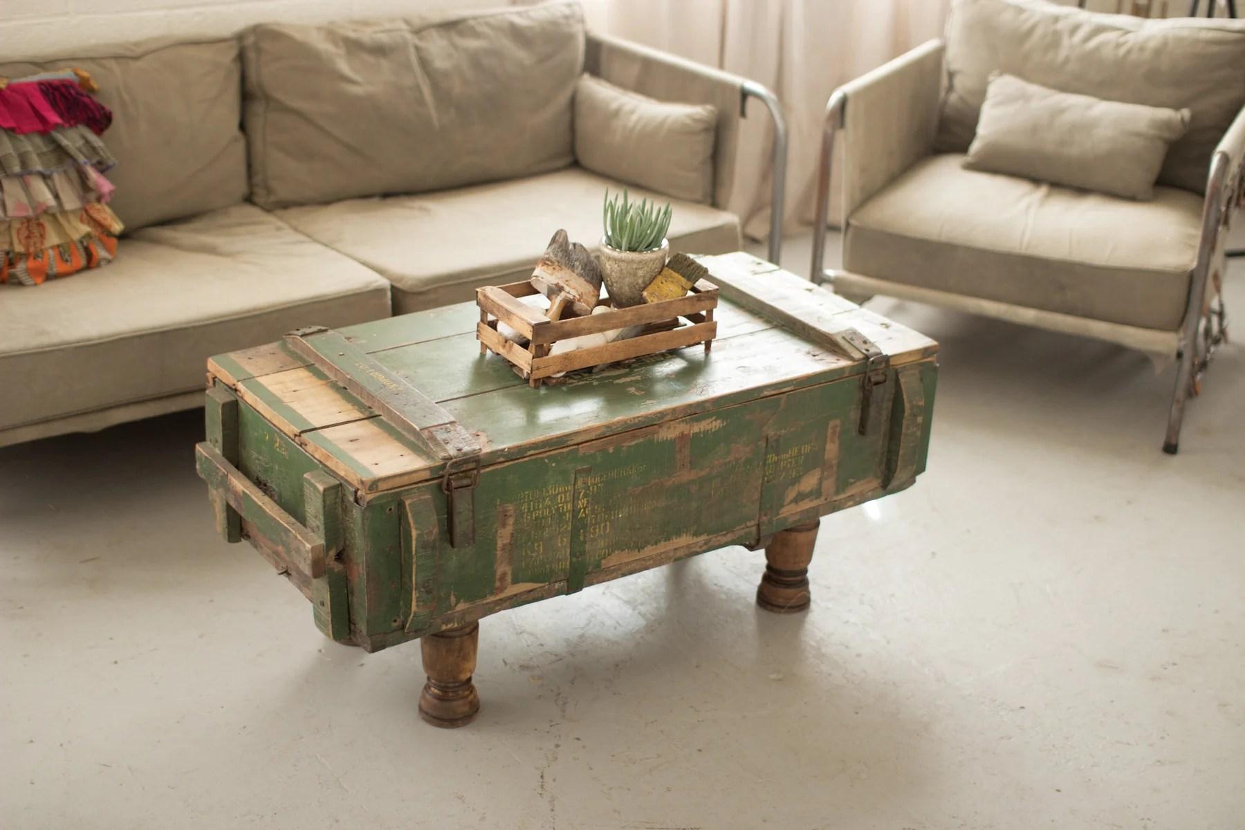 kalalou 42 antique artillery wooden box coffee table nkk1175