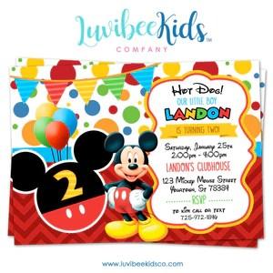 mickey mouse birthday invitation printable invite style 02