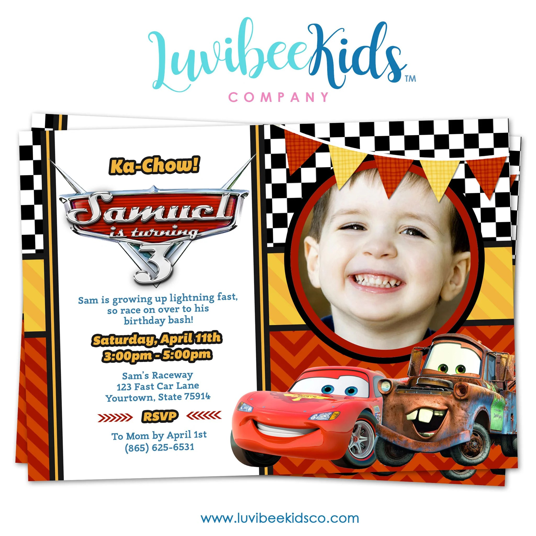 cars lightning mcqueen birthday invitation with photo disney cars birthday printables