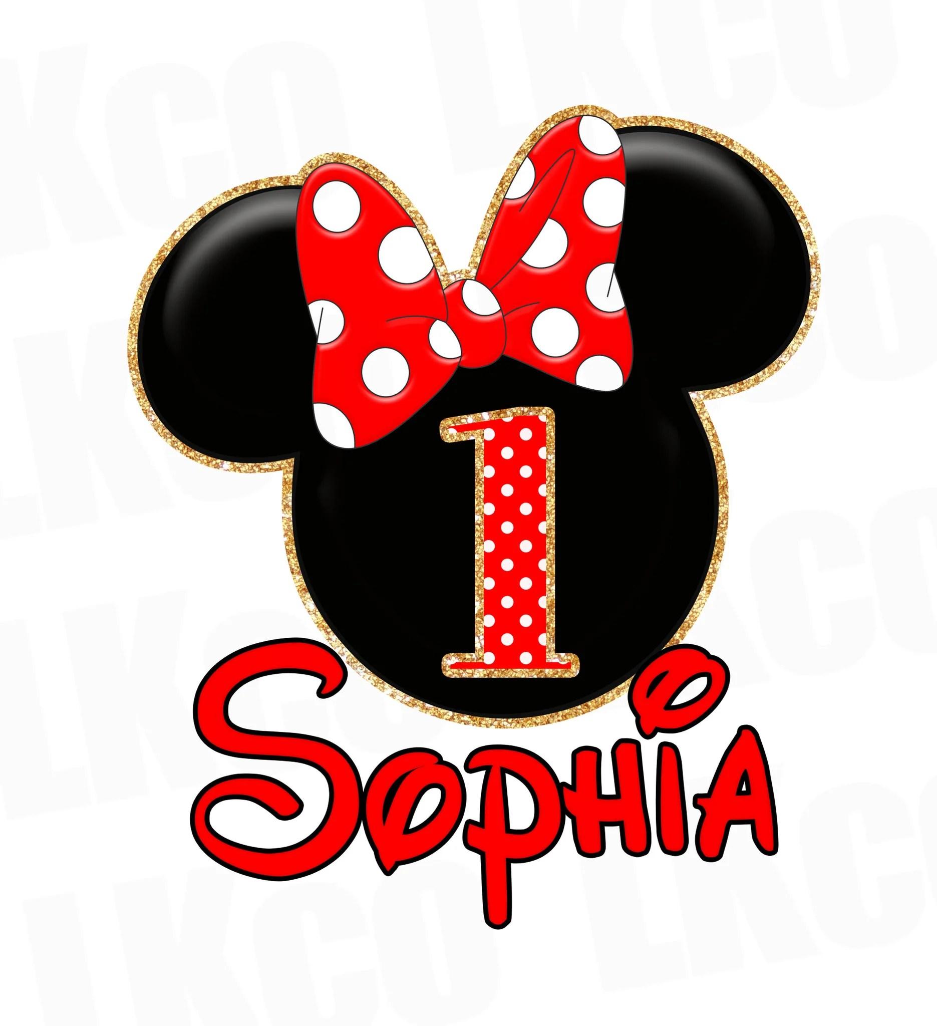 Minnie Mouse Iron On Transfer Red Bow Gold Glitter Luvibeekidsco