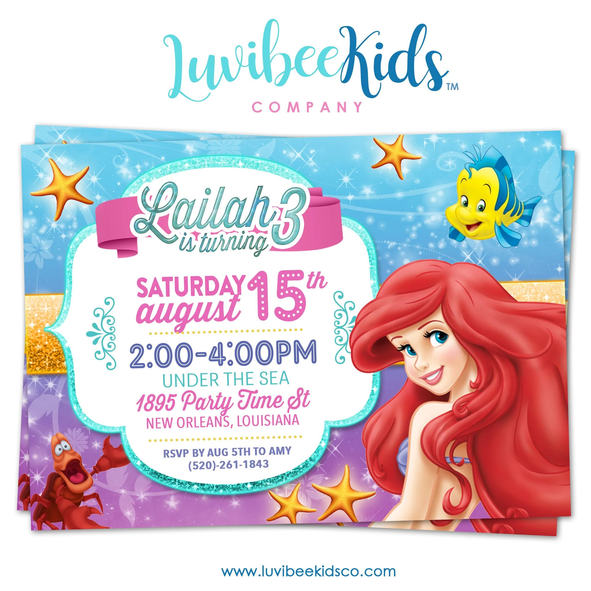 little mermaid birthday invitation style 02