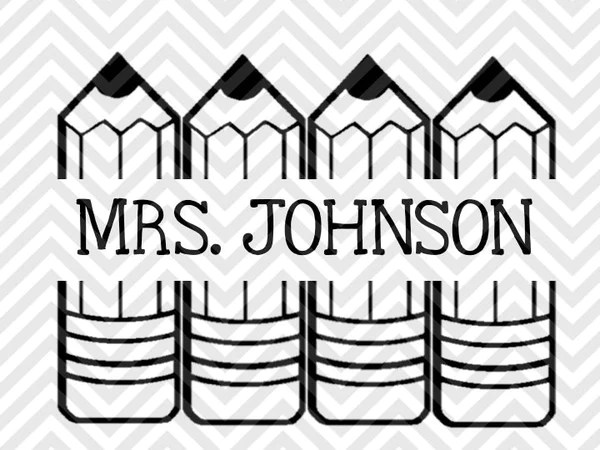 Download Back to School Teacher Pencil Name Tag Monogram (Letters ...