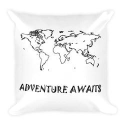 adventure awaits let s go travel pillow