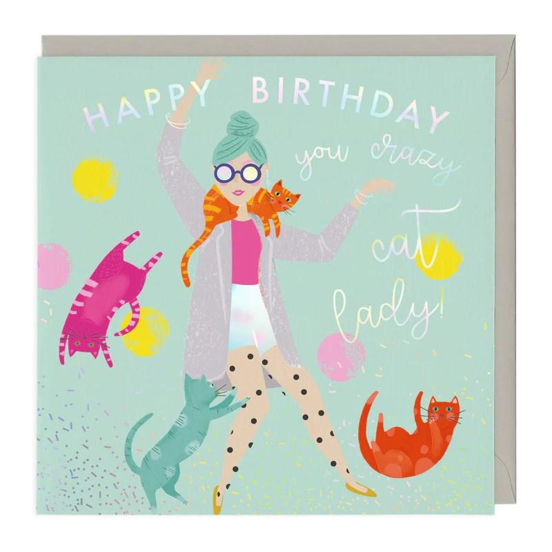 Crazy Cat Lady Birthday Card Whistlefish