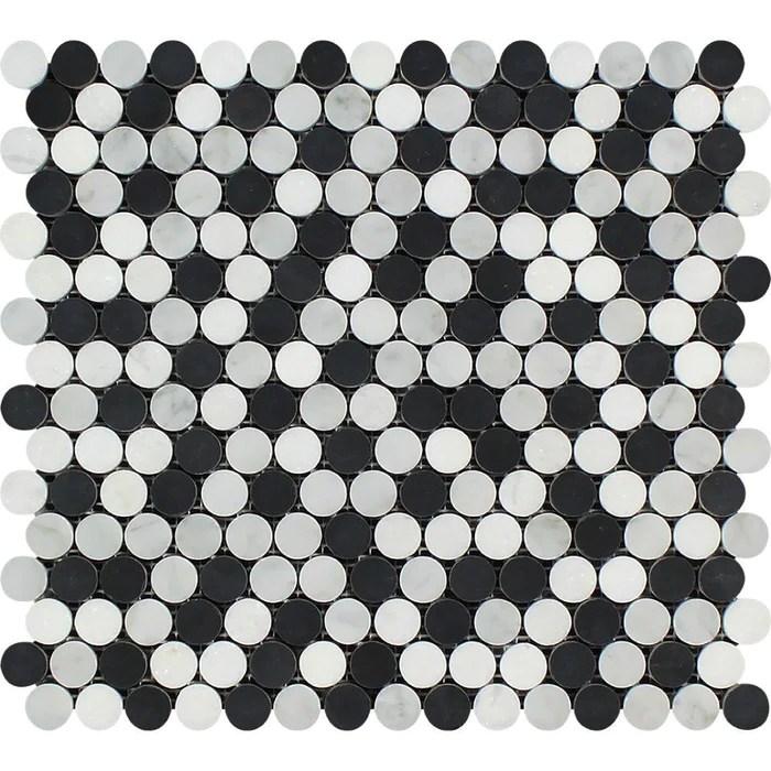 thassos white marble mosaic penny round with black carrara