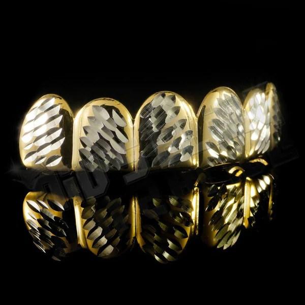 Diamond Cut Grillz Gold Teeth