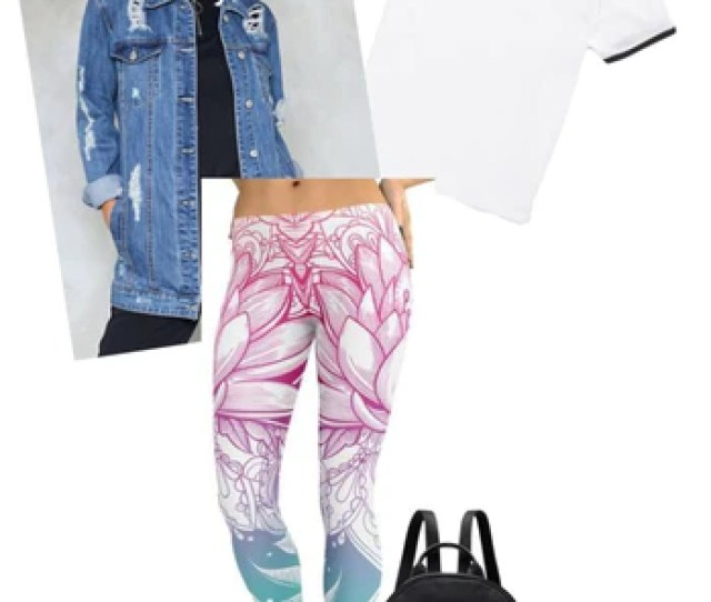 And The Bright Lotus Print On Both The Leggings And The Sneakers Lend A Dose Of Feminine Chicness To The Whole Outfit Wear A Black Backpack For A