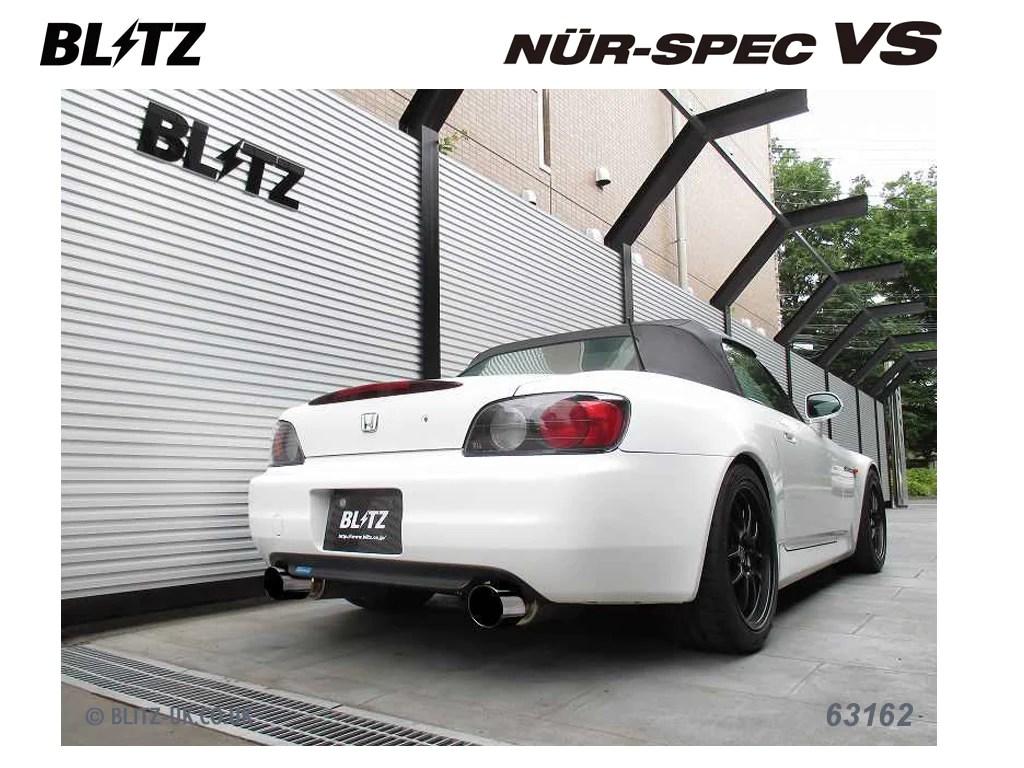 blitz nur spec vsr exhaust for honda s2000 ap1 f20c 63162v