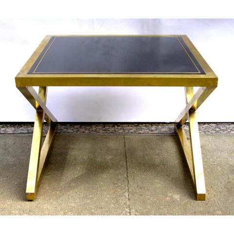 italian modern x frame handcrafted brass and black glass coffee table