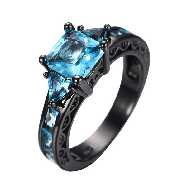 Aquamarine Gemstone Ring 10kt Black Gold Plated Sugar