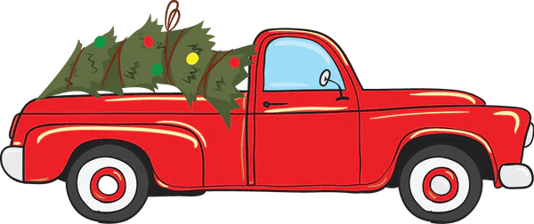 Vintage Red Christmas Truck Pre Cut Heat Transfer Decal
