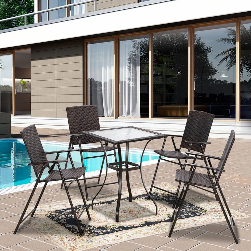mcombo wicker patio dining set 5 pieces outdoor patio furniture set table and wicker folding chairs for garden backyard bistro and deck