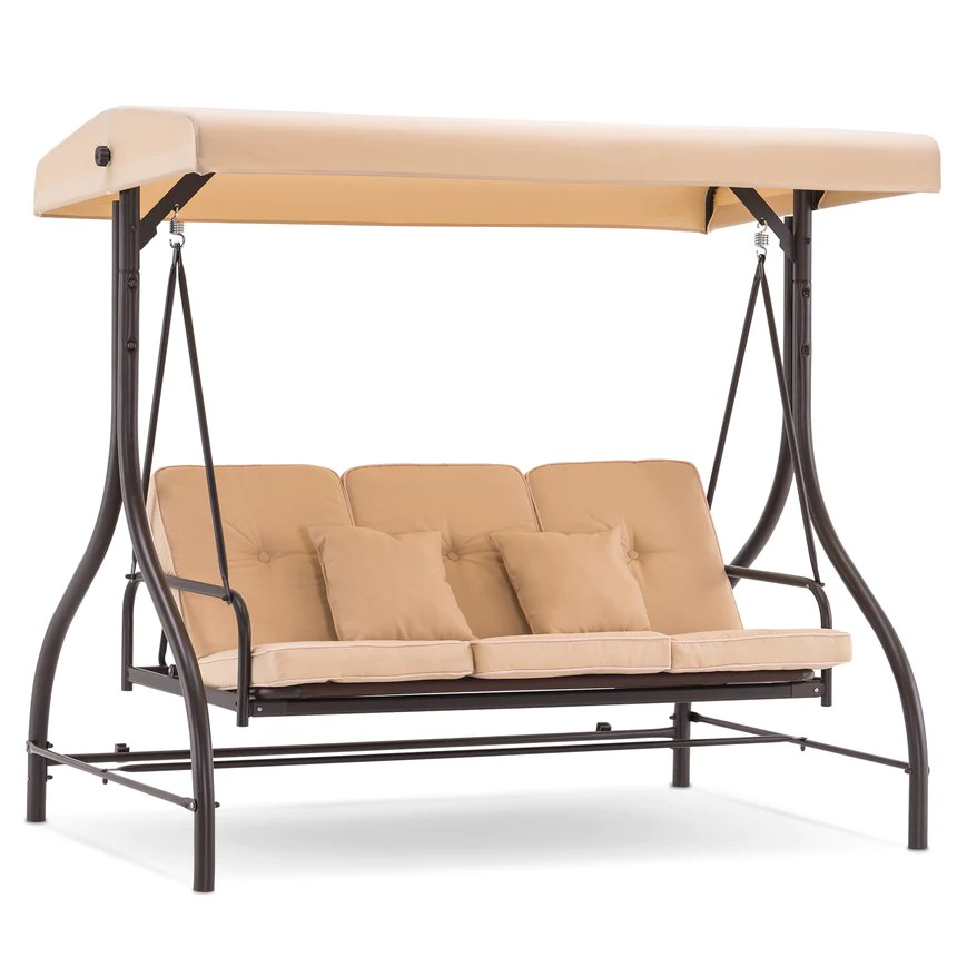 mcombo 3 seat outdoor patio swing chair adjustable backrest and canopy porch swing glider chair w cushions 4068