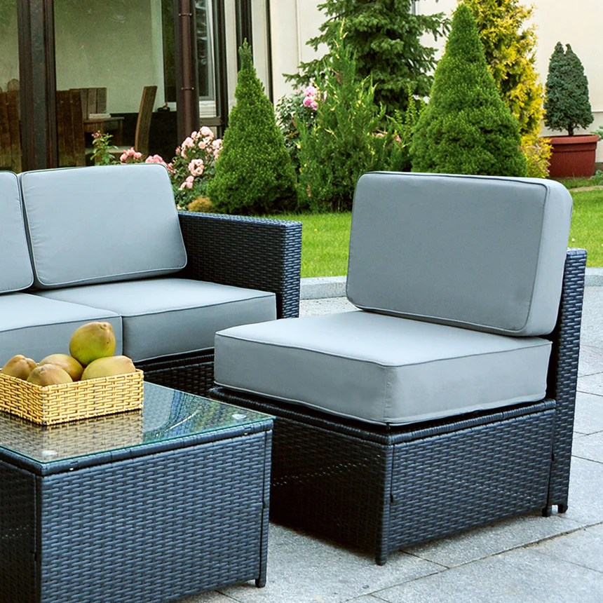 mcombo outdoor patio black wicker furniture sectional set all weather resin rattan chair modular sofas with water resistant cushion covers 6085 middle