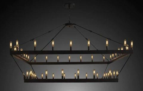 wrought iron vintage barn metal castile two tier square chandelier chandeliers industrial loft rustic lighting w 63 h 60 g7 3428 52