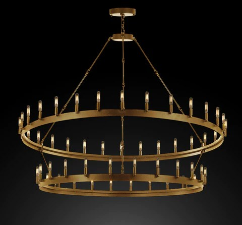 wrought iron vintage barn metal castile two tier chandelier industrial loft rustic lighting w 63 h 60 in a brushed brass finish great for the living