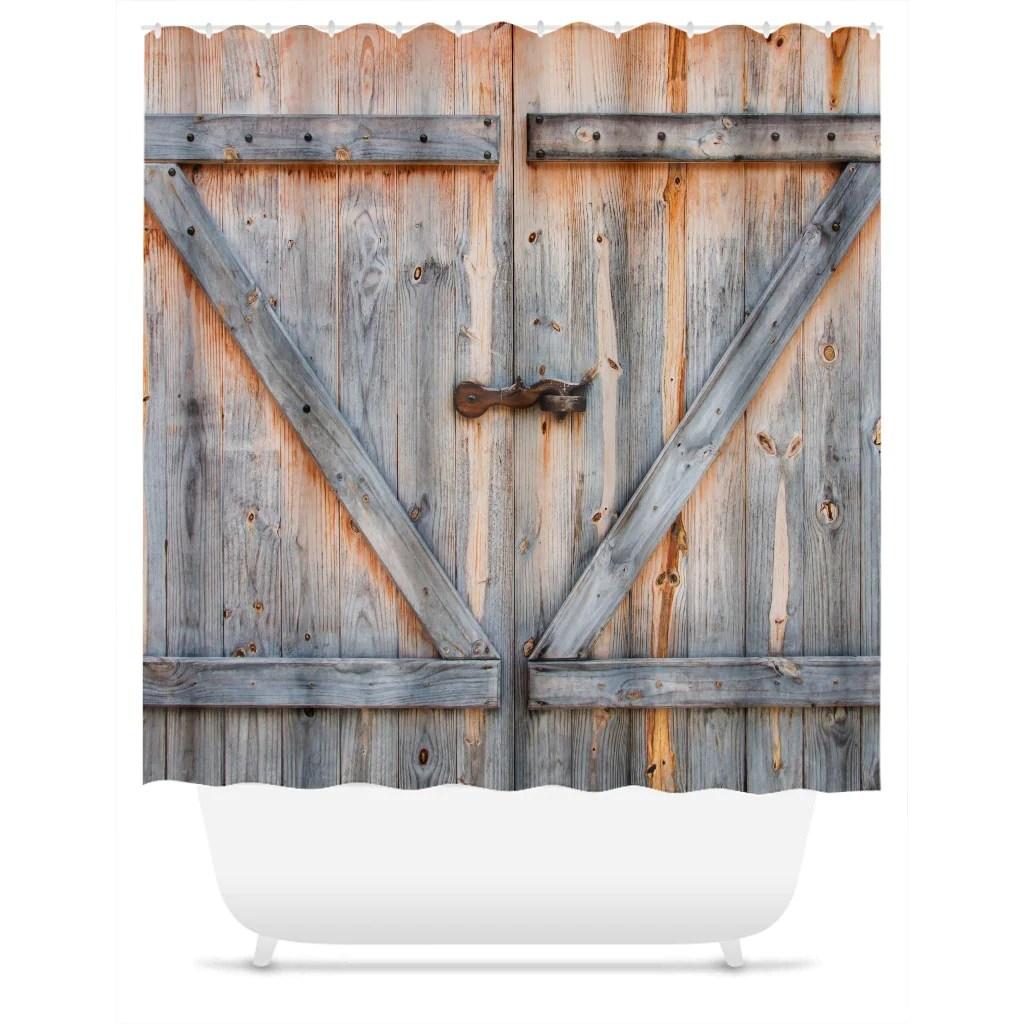 old barn door shower curtain rustic vintage farm door bathroom