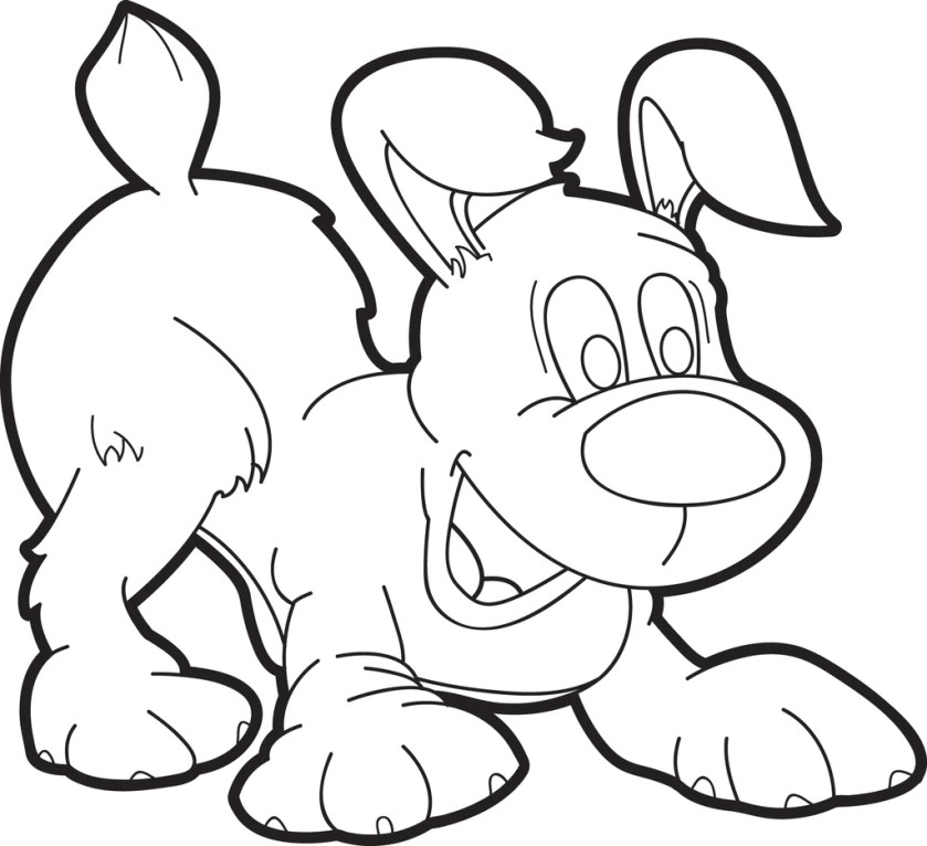 free printable cartoon puppy dog coloring page for kids